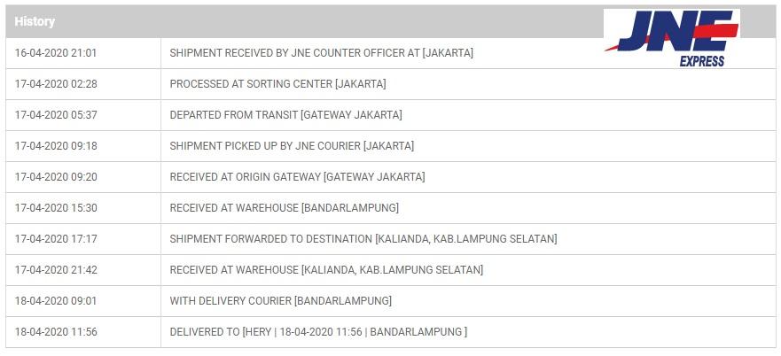 Urutan Status Paket JNE dari Jakarta ke Lampung