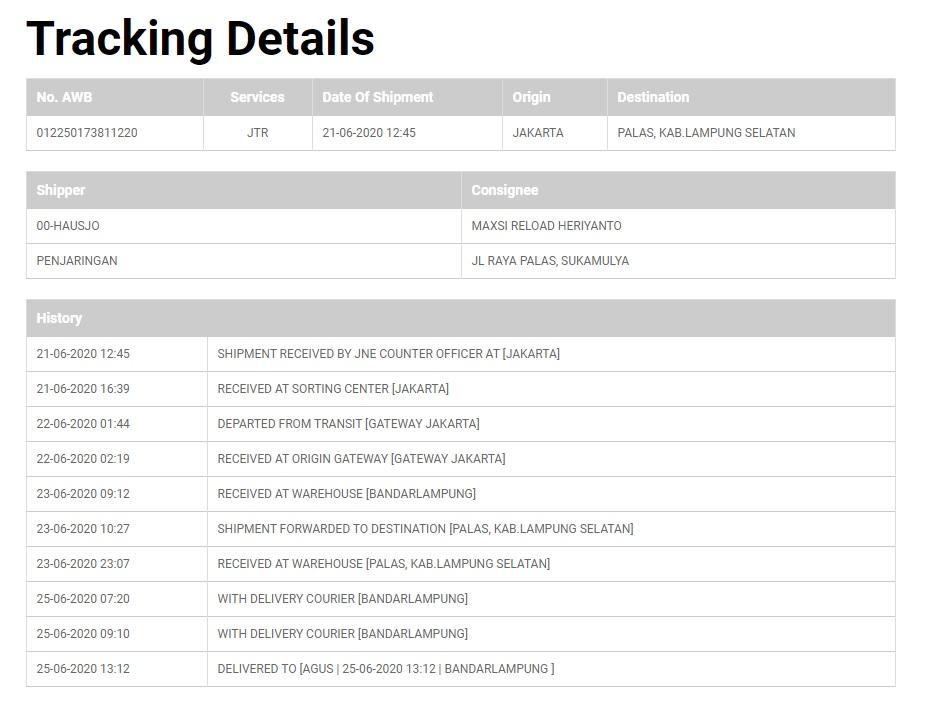 Mencoba Paket JNE Trucking Jakarta Lampung
