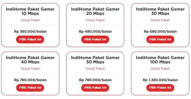 harga IndiHome Paket Gamer