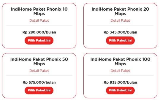 harga IndiHome Paket Phonix
