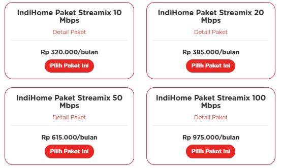 harga IndiHome Paket Streamix